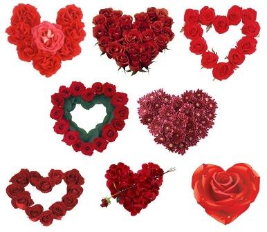 Сердечка з червоних троянд