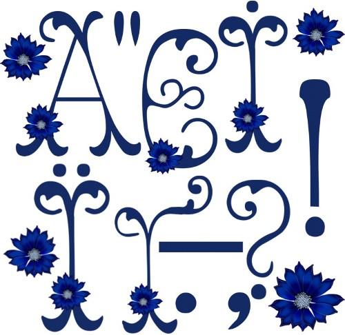 Букви українського алфавіту з волошками