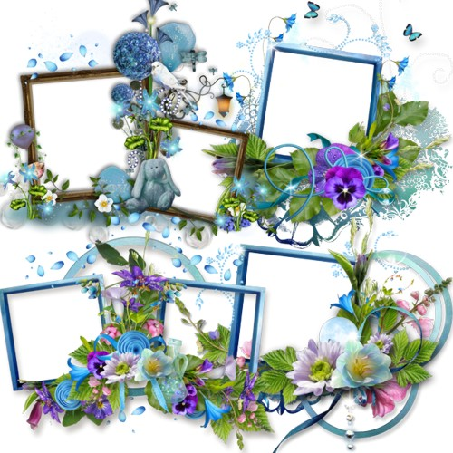 Рамки з синіми квітами